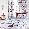 NAUTICAL SEA SHIPS BOYS BLUE LUXURY FULLY LINED CURTAINS 66 X 72