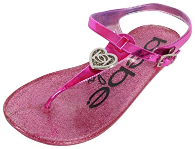 2d16de19475a6e bebe Girls Rhinestone Glitter Heart Jelly Sandals - Metallic Flip Flop Shoes