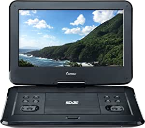 Impecca 13.3 Inch Portable DVD Player, Swivel Screen, 5 Hour Rechargeable Battery, with USB/SD Card Reader, and Deluxe Travel Bag, Black (DVP1330)