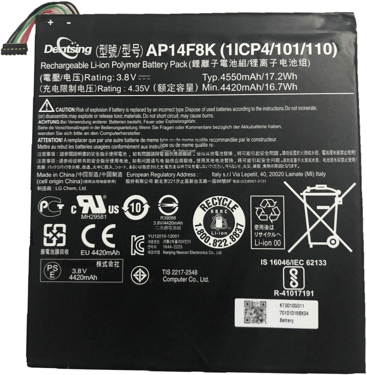 Dentsing AP14F8K 3.8V 17.2Wh/4450mAh Laptop Battery Compatible with Acer Iconia Tab A1-850 B1-810 820 W1-810 811 B1-750 Series Notebook AP14E8K 1ICP4/86/94 1ICP4/101/110 KT.0010G.007 KT0010G011
