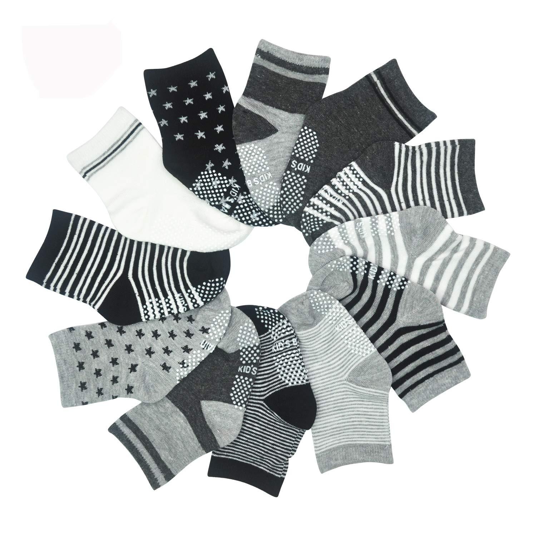 12 pares de calcetines para beb/és de 1-3 a/ños o 3-5 a/ños calcetines antideslizantes para ni/ños y ni/ñas HYCLES 12-36 meses