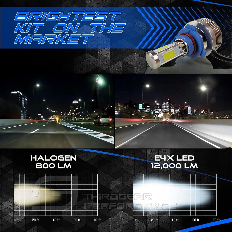 Optix 120W 12000LM LED Headlight Conversion Kit 9008 H13 Dual Hi//Lo Beam Bulbs Premium 4-Sided Epistar COB Chip 360 Light Plug and Play Design 6000K 6K Diamond White 1 Pair