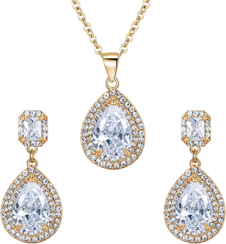 Women/'s Crystal Pendant Bib Choker Chain Statement Necklace Earrings Jewelry Set