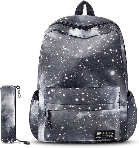 Girls Blue Star Galaxy Canvas School Bag Backpack Teenage Boys Rucksack Gift UK