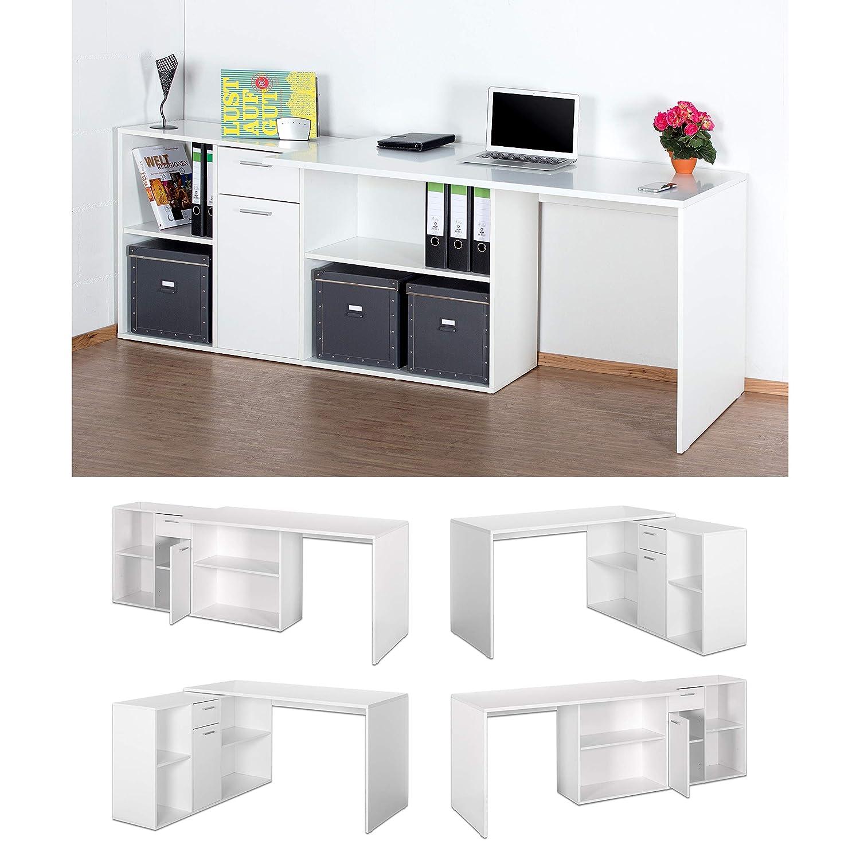 Ricoo Winkelkombination Schreibtisch Weiss Arbeitstisch Computer