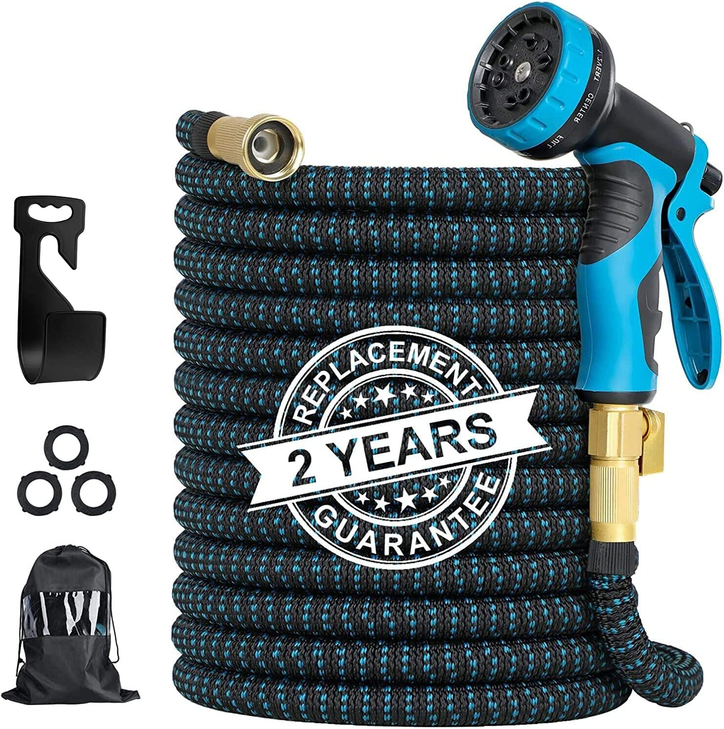 OFUN Expandable Garden Hose 100 ft | Heavy Duty Water Hose with 9 Function Nozzle | 4-Layer Latex | Solid 3/4
