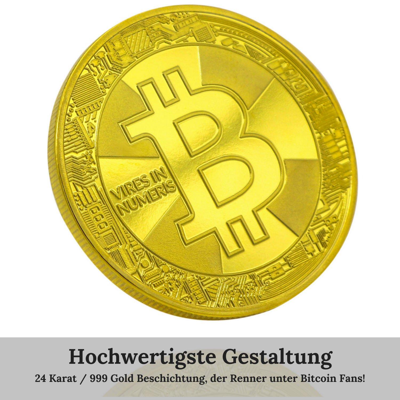 Ze2-Gear Bitcoin Münze Gold - 24 Karat Gold Beschichtung, Neues ...