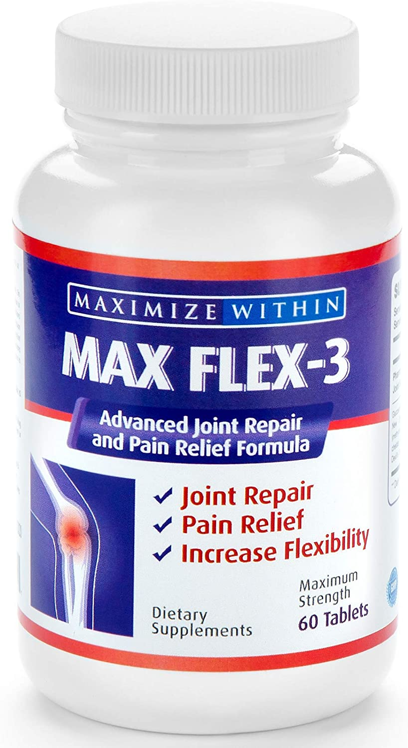 Max Flex-3-Advanced Joint Repair & Pain Relief Formula with Green Lipped Mussel. Support Treatment:Back Pain,Shin Splints,Arthritis,Tennis Elbow-Manage Knee,Hip&Shoulder Joint Flexibility MONTH SUPPLY: Health & Personal Care