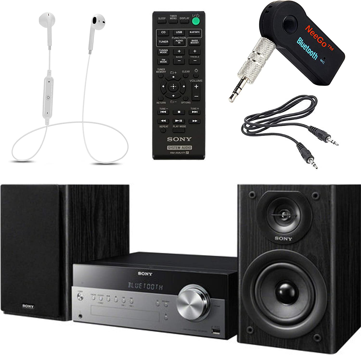 Sony Bluetooth Micro Music System Bundle – [2] Piece Set Includes Micro Hi-fi Shelf System with Single Disc Cd Player, Bluetooth, USB Input, 2-Way, Bass Reflex Speakers NeeGo Bluetooth Receiver;