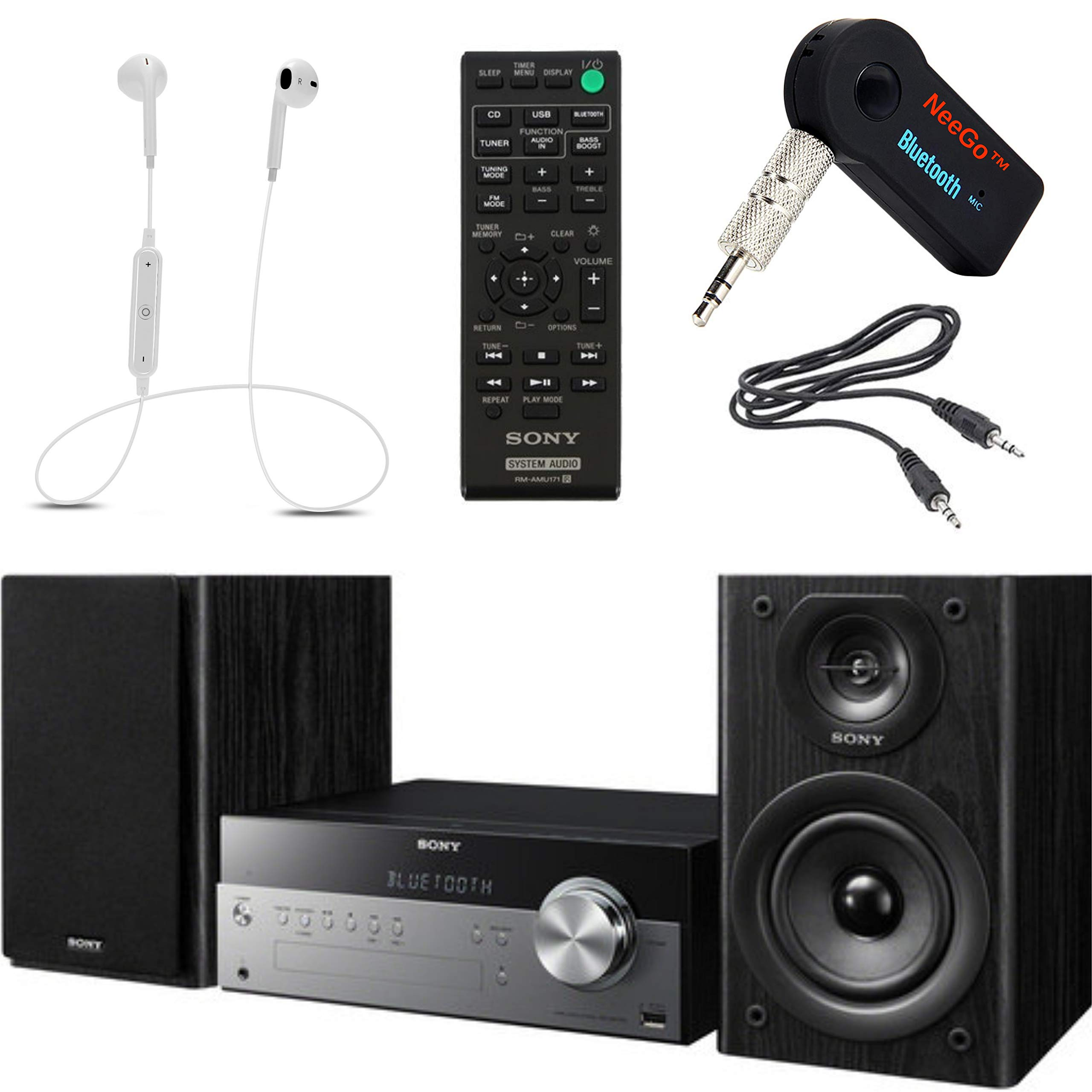 Sony Bluetooth Micro Music System Bundle - [2] Piece Set Includes Micro Hi-fi Shelf System with Single Disc Cd Player, Bluetooth, USB Input, 2-Way, Bass Reflex Speakers NeeGo Bluetooth Receiver; by NEEGO