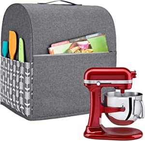 Yarwo Stand Mixer Cover Compatible with 6-8 Quart KitchenAid Mixer, Protective Dust Cover with Top Handle and Pockets for Accessories, Gray with Arrow