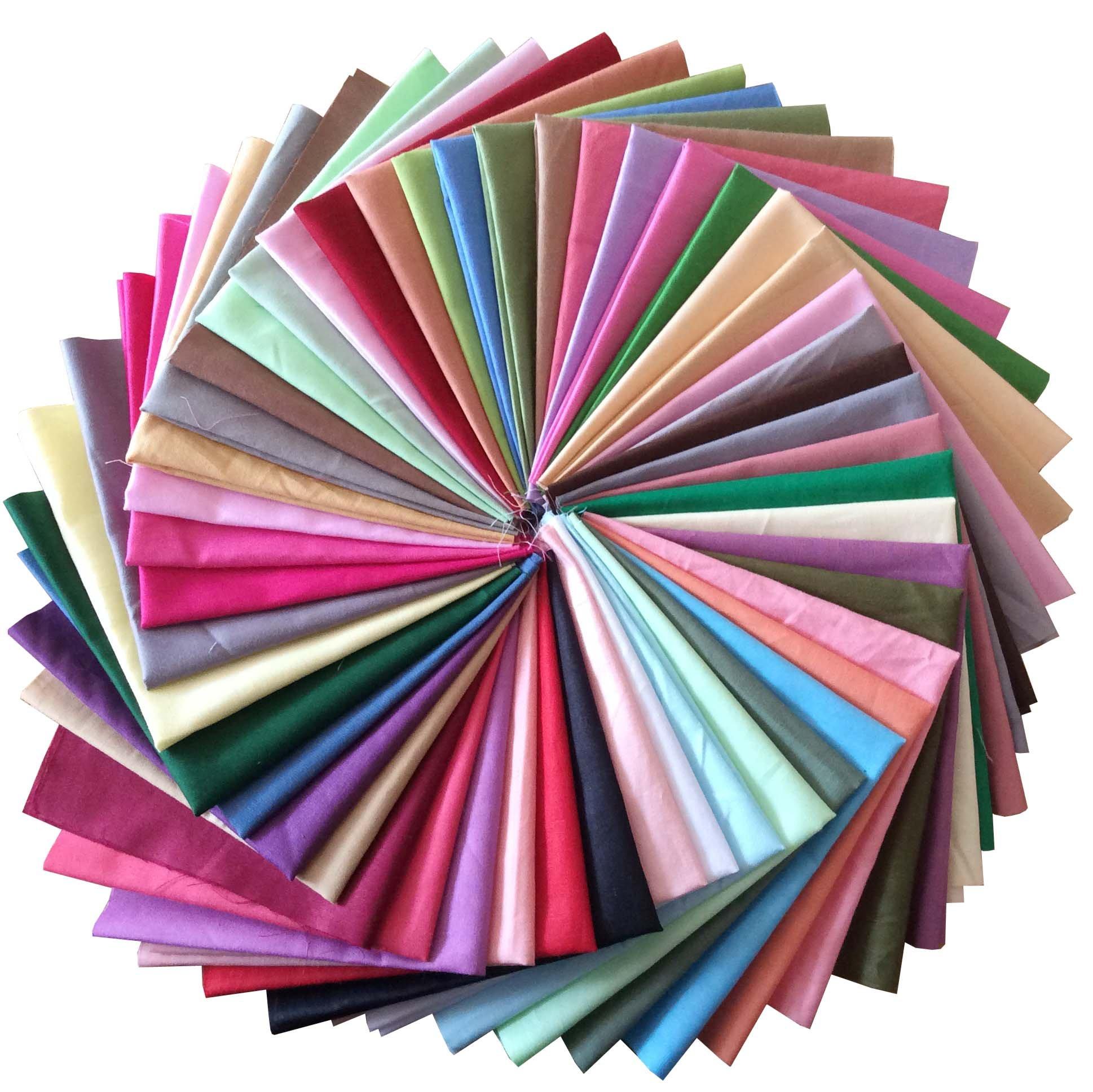 longshine-us 25pcs Solid Colors Premium Cotton Craft Fabric Bundle Squares Patchwork Lint DIY Sewing Scrapbooking Quilting Dot Pattern Artcraft (10'' x 10'') by longshine-us (Image #2)