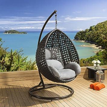 Amazon De Luxus Outdoor Garten Hangesessel Schwarz Rattan Grau