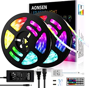 Aonsen LED Strip Lights 32.8FT, RGB LED Light Strip 5050 Waterproof Tape Lights, Color Changing LED Strip Lights with Remote for Home Lighting Kitchen Bed Flexible Strip Lights for Bar Home Decoration