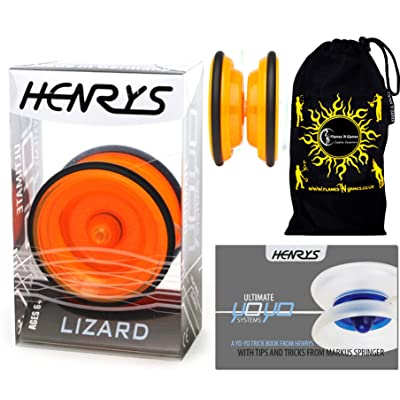 Henrys LIZARD YoYo (Orange) Professional Entry-Level YoYo +Instructional Booklet of Tricks & Travel Bag! Pro YoYos For Kids and Adults!: Toys & Games