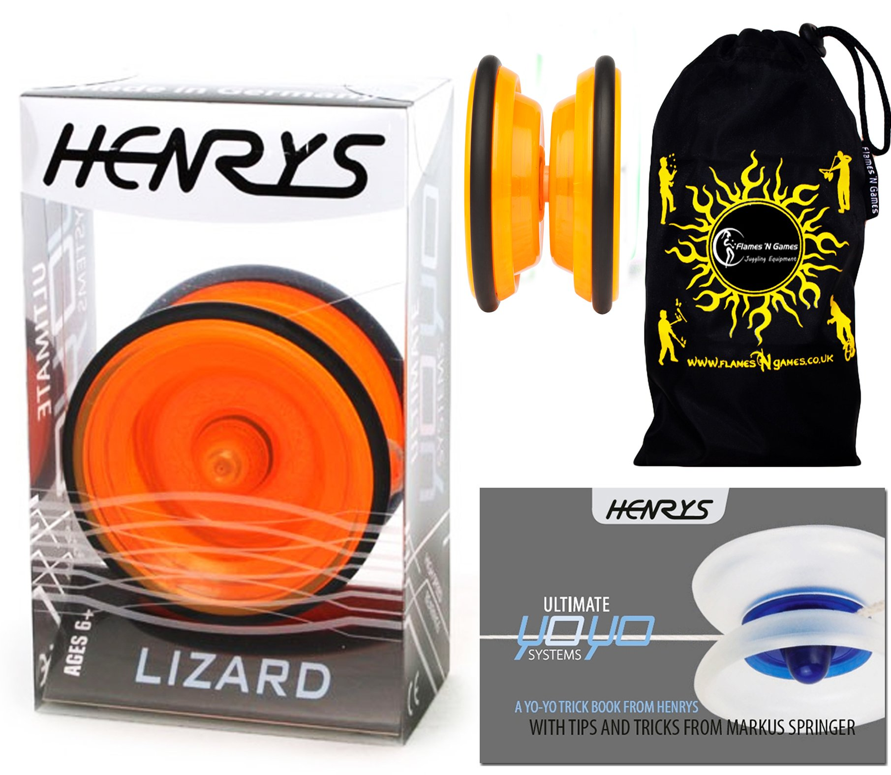 Henrys LIZARD YoYo (Orange) Professional Entry-Level YoYo +Instructional Booklet of Tricks & Travel Bag! Pro YoYos For Kids and Adults!