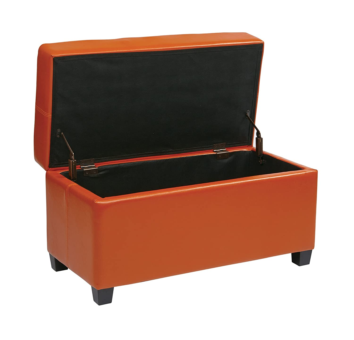 amazoncom office star metro vinyl storage ottoman with espresso  - amazoncom office star metro vinyl storage ottoman with espresso finishlegs orange kitchen  dining
