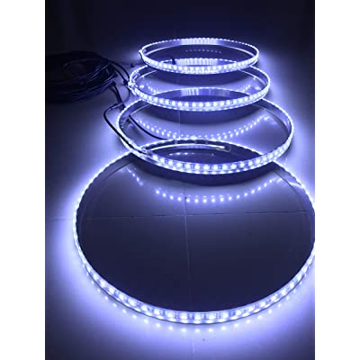 Sando IP68 Waterproof 4 Lights/Set Pure White Brightest 300Leds 13.5''-17.5'' Adjustable Led Wheel Ring Lights Rim Lights Tire Lights: Automotive