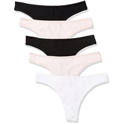 Brand - Iris & Lilly Women's Cotton Thong Panty, 5-Pack: Clothing