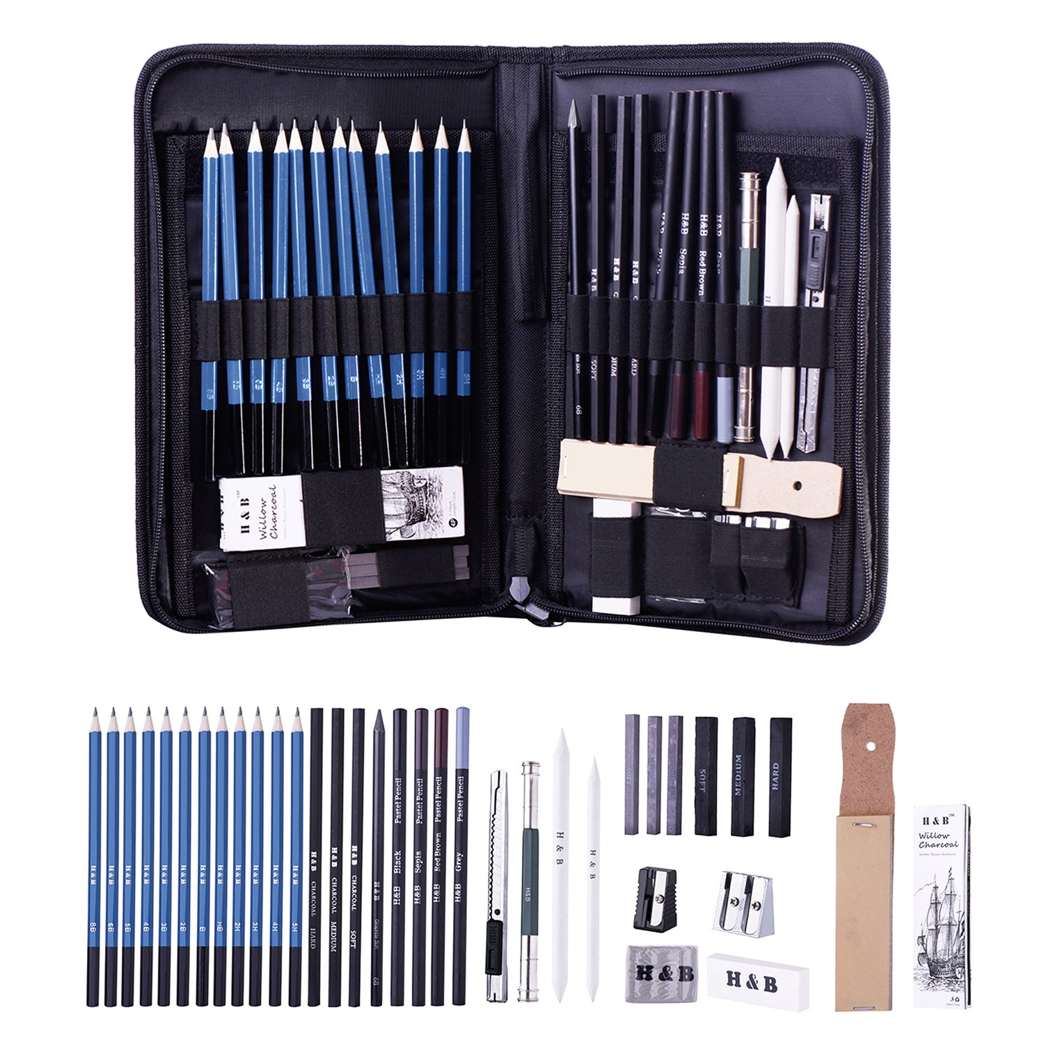 H b graphite drawing pencils and sketch set 40 piece set complete artist kit includes charcoals pastels and zippered carry case includes rare pop up