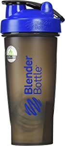 BlenderBottle Full Color Bottles - New Black Translucent Color with Shaker Ball - Blue - 28oz