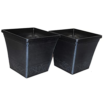 """Bert's Garden Plastic Oil Rubbed Metal-Looking Square 7"""" Pots 2 Pack (Slate Grey): Garden & Outdoor"""