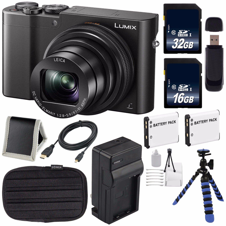 パナソニック LUMIX 4K DMC-ZS100 デジタルコンパクトカメラ(ブラック) + 16GB メモリーカード+ 32GB メモリカード+ 予備バッテリー+充電器+カードウォレット+三脚バンドル   B01N0Z4C6C