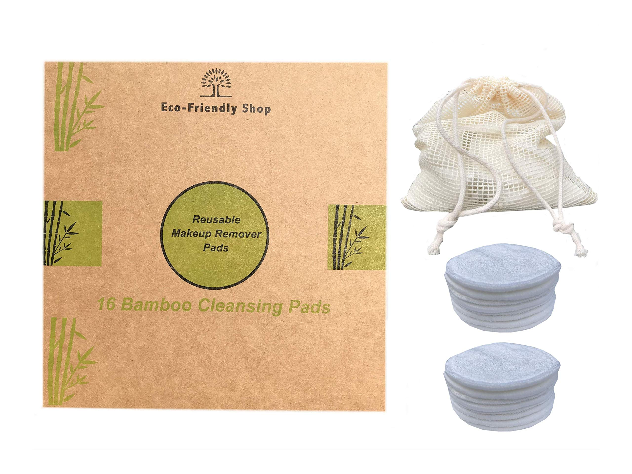 Reusable Remover Pads丨Bamboo Fiber Cleansing Pads丨Washable Cotton Wipe丨Organic Makeup Disc丨Facial Cleansing Disks + 1 Laundry Bag 1 Makeup Sponge丨Biodegradable Packaging Box 16pcs