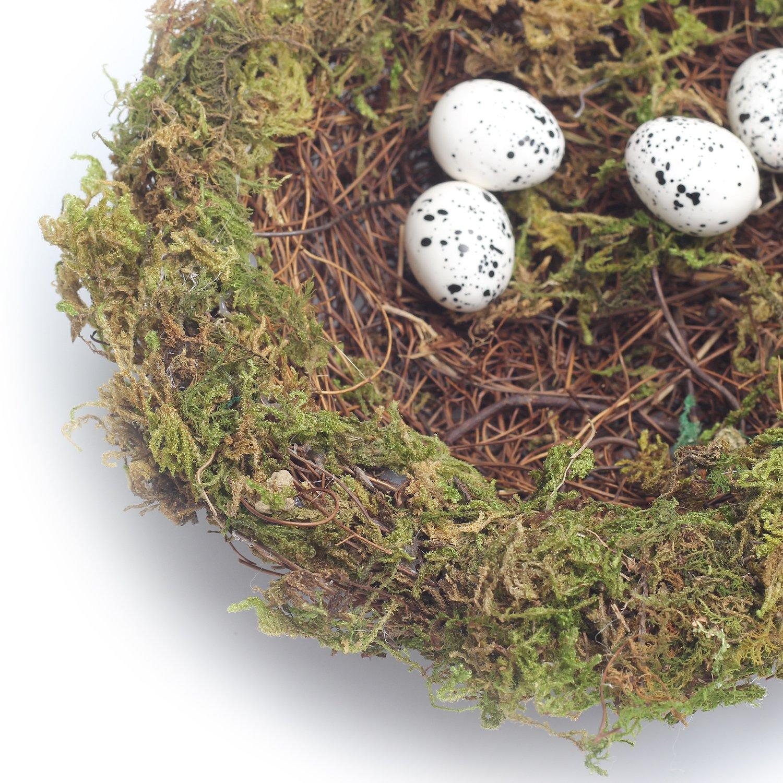 MomokoPeng Set of 2 Spring Bird Nests With Eggs,Twig Bird Nest Decorative Ornament With Clip(Green Bird's Nest) by MomokoPeng (Image #6)