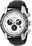 Versace Men's VDB010014 V-Ray Stainless Steel Watch with Black Leather Band