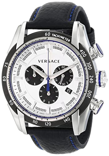 Versace Men s VDB010014 V-Ray Stainless Steel Watch with Black Leather Band