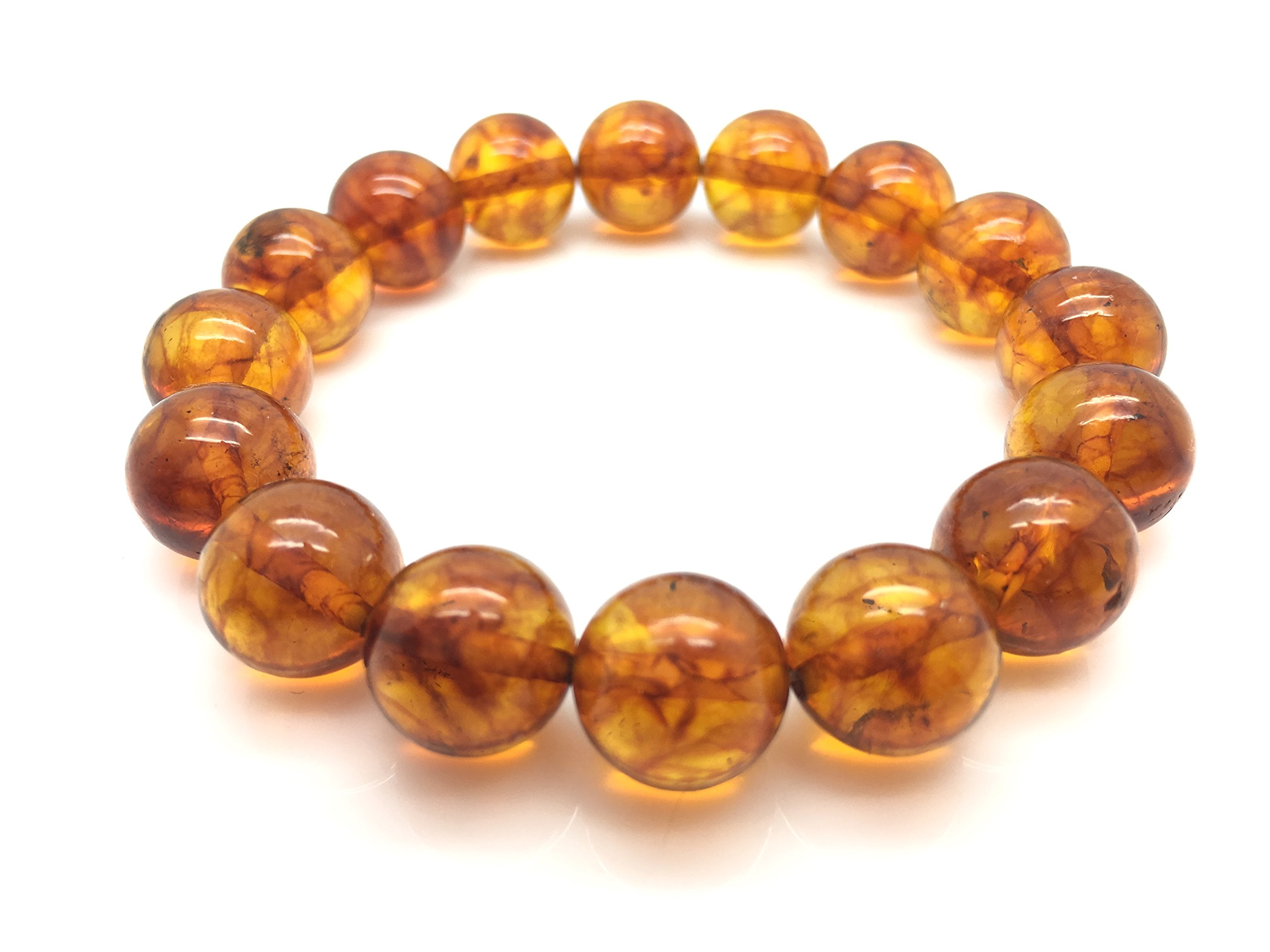 Natural Baltic Amber Bracelet Light Cognac Colour ±16g 12± mm size.