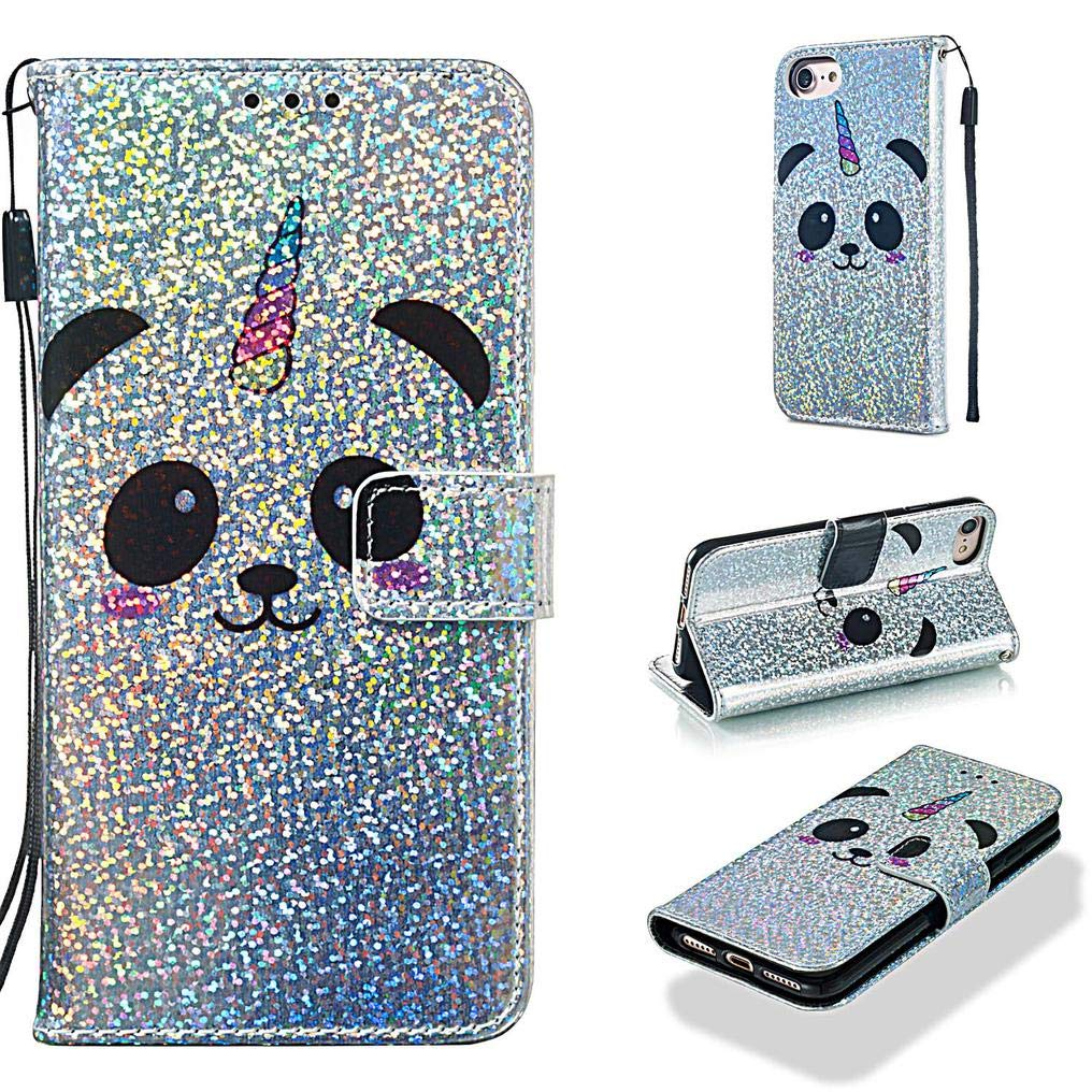 Case for iPhone 6S/6/7/8,Slim Sparkly Bling Glitter PU Leather [Kickstand] Wallet Case with Inner Soft Bumper Shockproof Magnetic Closure Wrist Strap ...