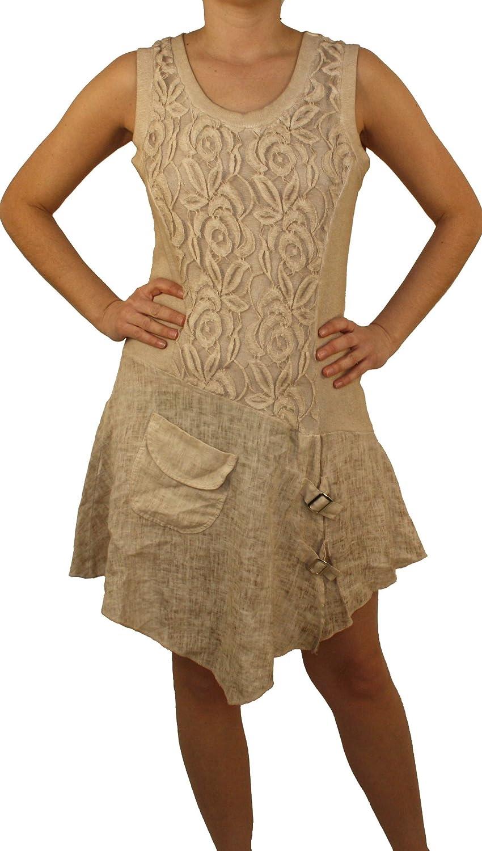 08705 Damen Leinenkleid, 100% Leinen, beige, braun, grün, rosa, schwarz, weiß, M, L, XL, XXL!