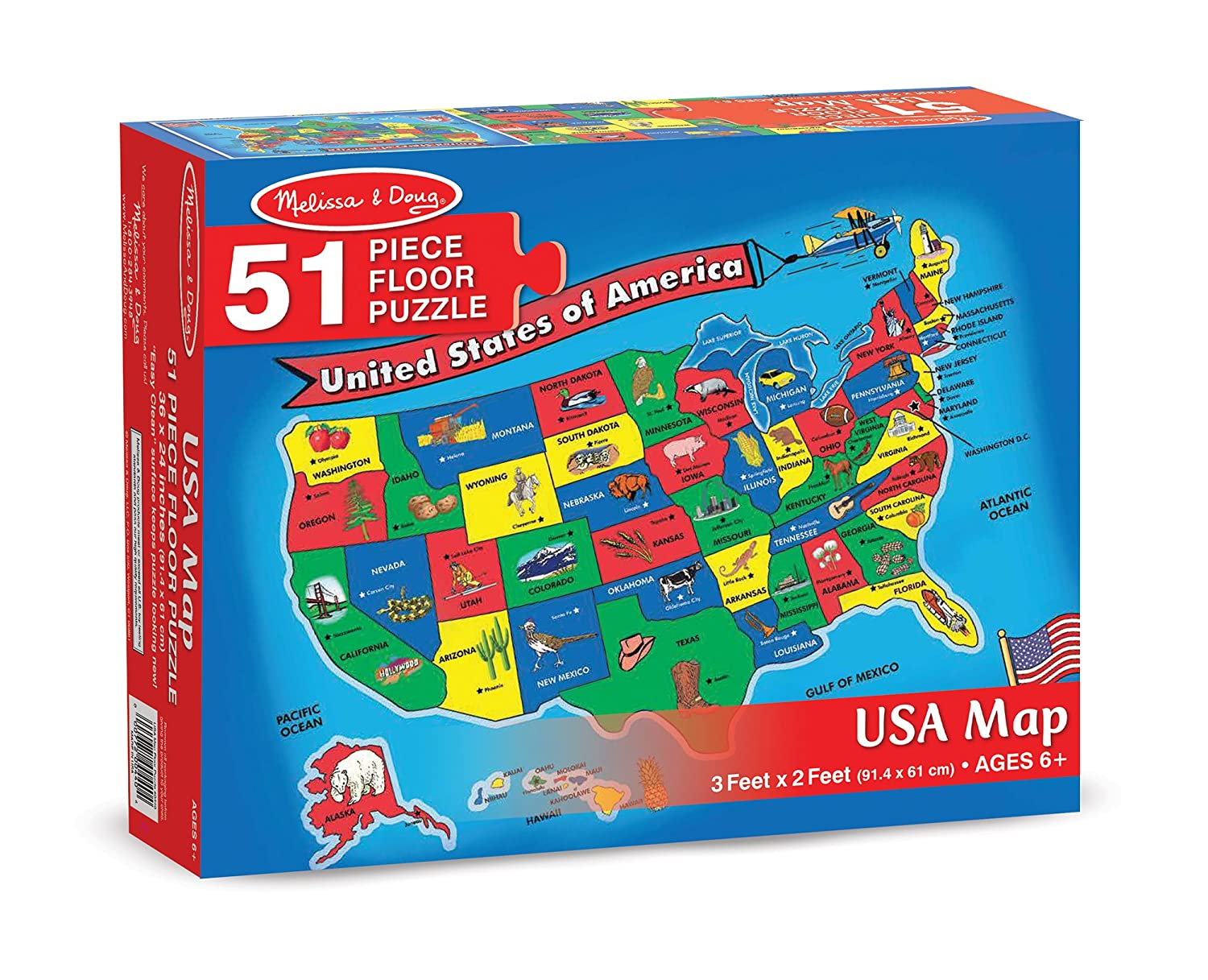 Amazoncom Melissa Doug USA Map Floor Puzzle Pcs X - Us map puzzle for toddlers