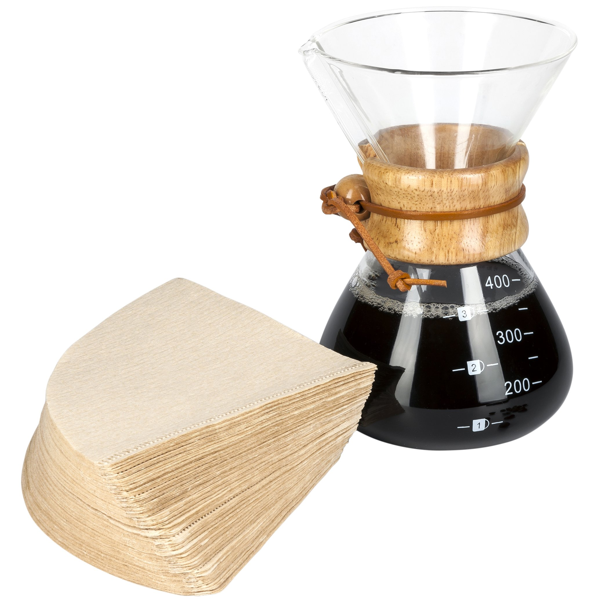 Pour Over Coffee Maker - with 100 Paper Filters - by LVKH (13.5 Oz, 1 Cup)