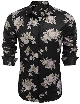 8f4403bc1f6e COOFANDY Men's Slim Fit Floral Printed Shirt Long Sleeve Casual Button Down  Shirts