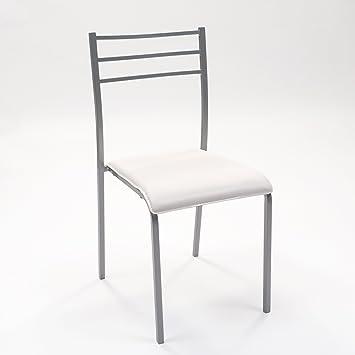 Silla de cocina PARIS con estructura de metal y asiento de pvc (Gris-blanco)