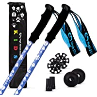 High Stream Gear Kids Trekking Poles – Collapsible Telescopic Brightly Colored Walking Sticks for Children – Includes Carrier Bag and Accessories