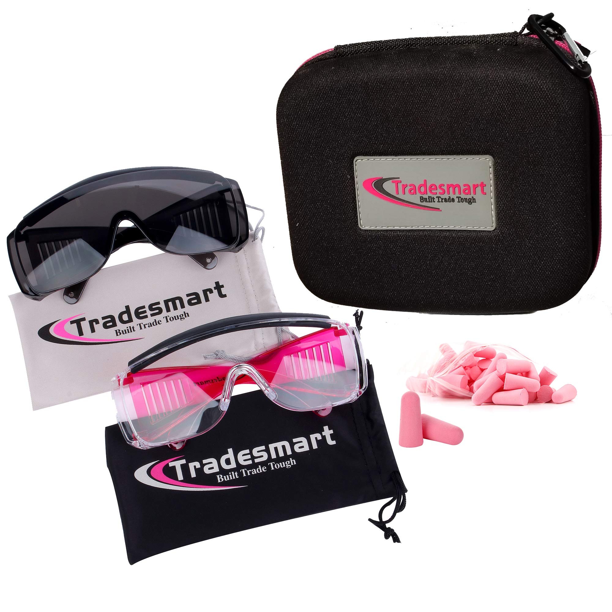 TRADESMART Over-Prescription Safety Glasses & Case - Shooting Ear Plug & Eye Protection for The Gun Range with Hard Case, - UV400 Anti-Fog and Anti-Scratch Indoor & Outdoor Glasses - NRR 33 (Pink) by TRADESMART BUILT TRADE TOUGH