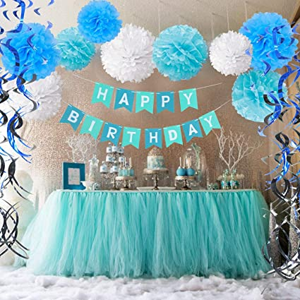 Factory 21 Blue White Full Room Baby Boy Birthday Party Decoration