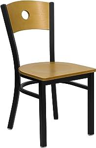 Flash Furniture HERCULES Series Black Circle Back Metal Restaurant Chair - Natural Wood Back & Seat