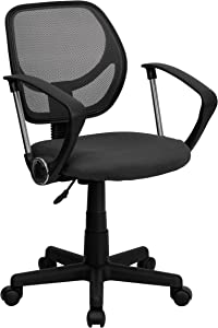 Flash Furniture Low Back Gray Mesh Swivel Task Office Chair with Arms, BIFMA Certified