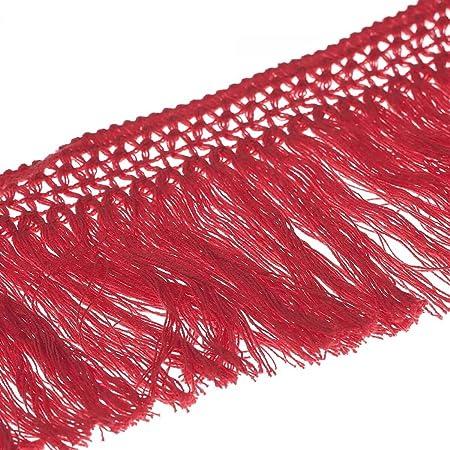 Cinta flecos algodón 10 cm – Color rojo – anchura 100 mmmm: Amazon.es: Hogar
