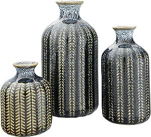 Creative Co-op Embossed Stoneware Reactive Glaze Finish (Set of 3 Sizes) Vase Set, Blue