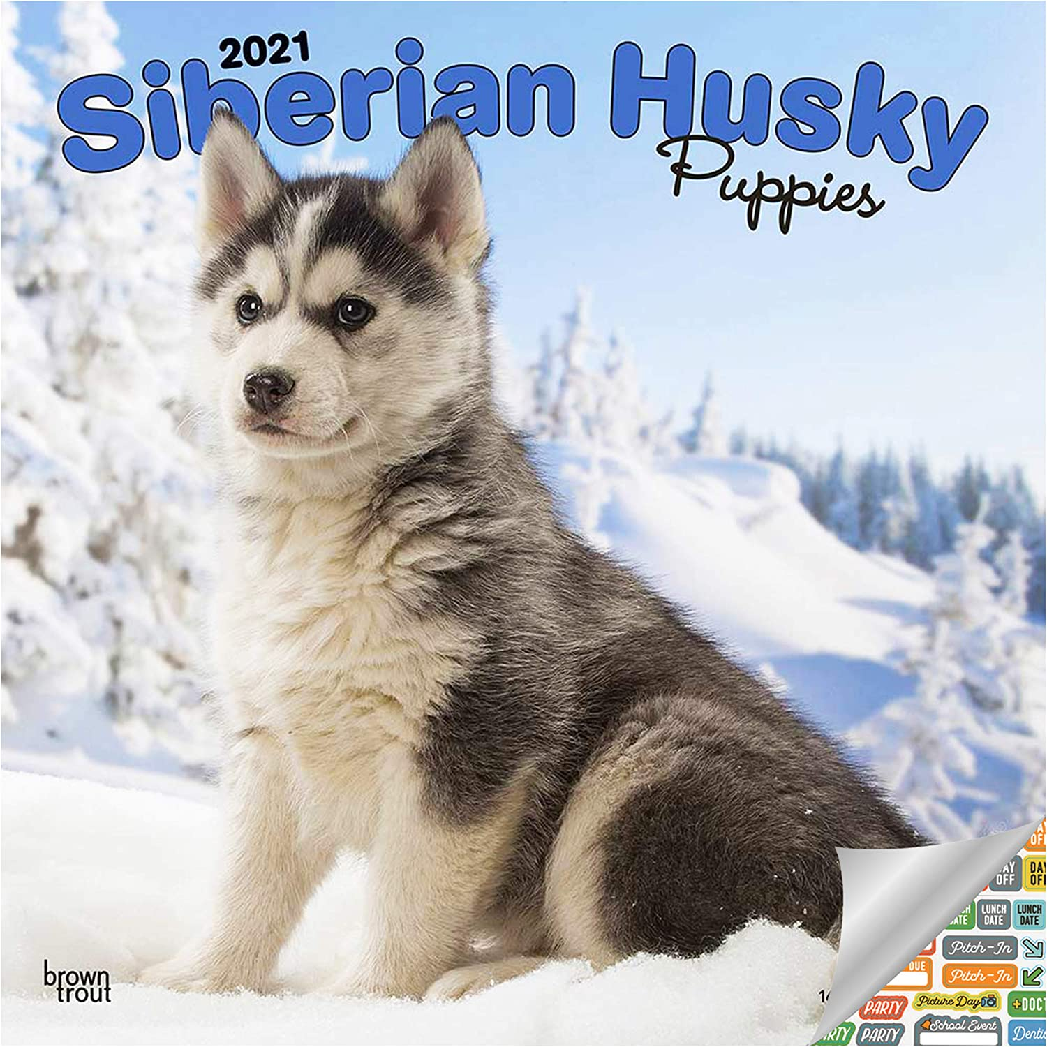 Siberian Husky Puppies Calendar 2021 Bundle - Deluxe 2021 Siberian Husky Puppies Wall Calendar with Over 100 Calendar Stickers (Dog Lovers Gifts, Office Supplies)
