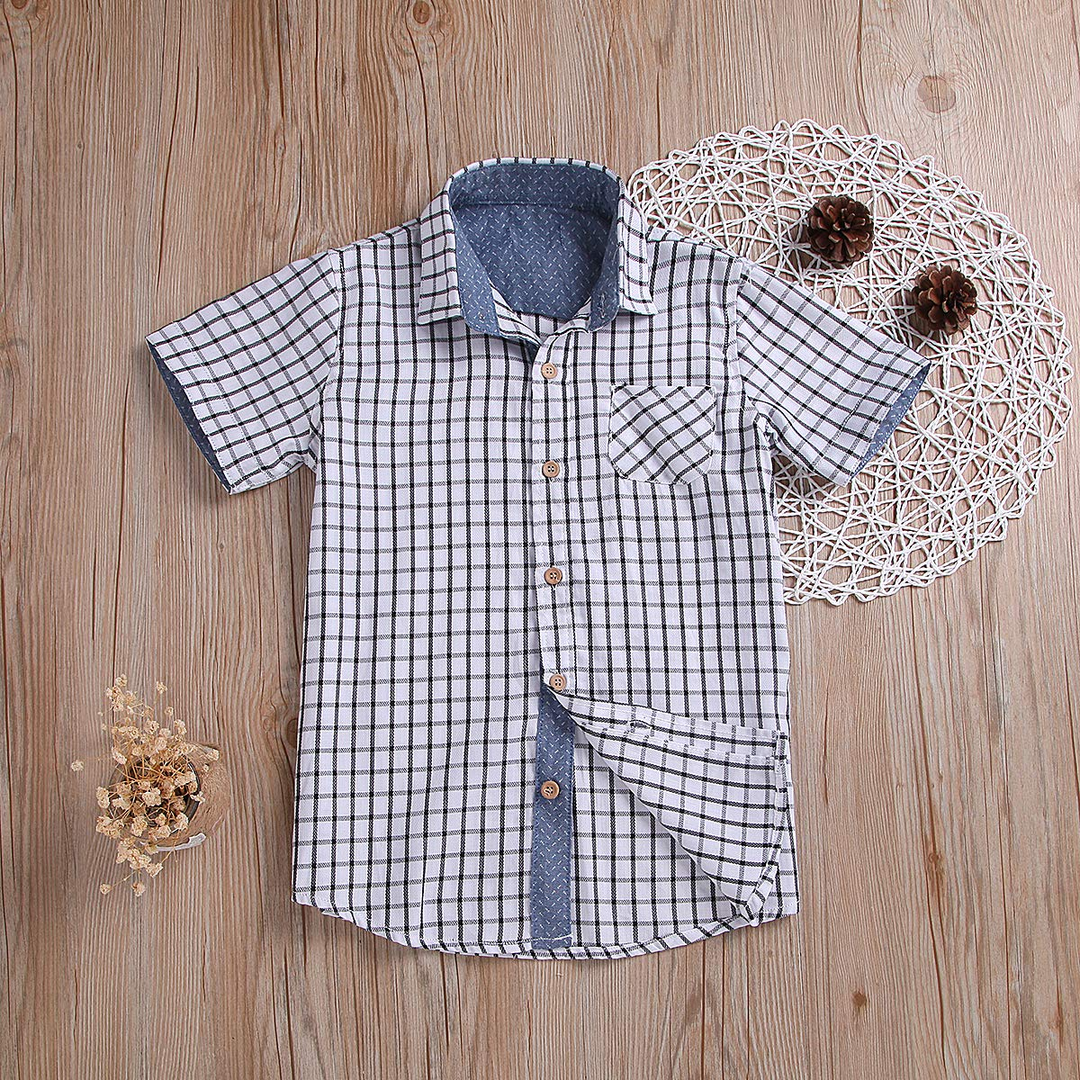 Turuste Fashion Toddler Kids Boys Button Down Shirts Short Sleeve White Plaid Shirts with Pocket Party School Summer Clothes