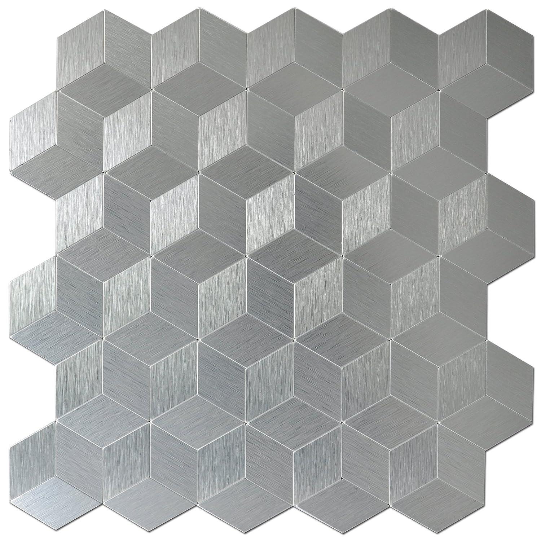 Art3d Peel and Stick Tiles Modern Aluminum Mosaic, Old Kettle (5 Tiles) A16001P5
