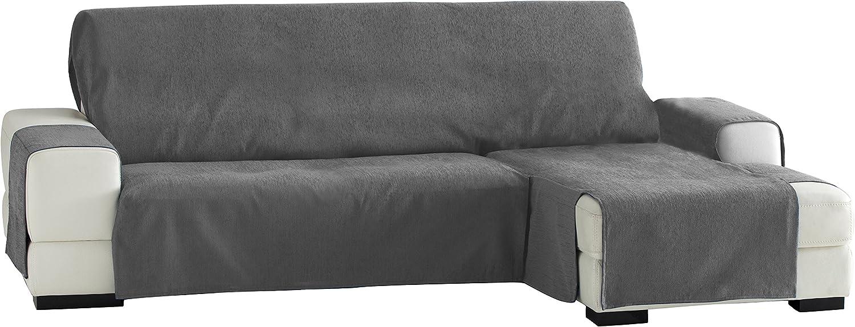 Eysa -Zoco Fundas de Sofa Prácticas, Chaise Longue 240 cm, derecha Vista Frontal, Color Gris