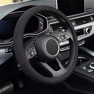 KAFEEK Steering Wheel Cover, Universal 15 inch, Microfiber Viscose, Anti-Slip, Odorless, Black